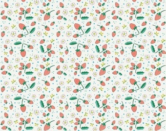 Cream Bunnies Strawberries - Bunnies & Blossoms collection by Lauren Nash for Penny Rose Fabrics - 100% cotton quilting fabric by the yard