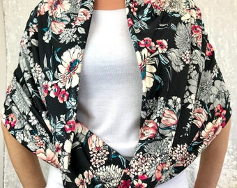 Peach Floral Double-Decker Infinity Scarf by So-Fine