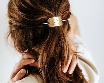 Polkadot Bar Hair Clip   Brass Hair Slide Accessory