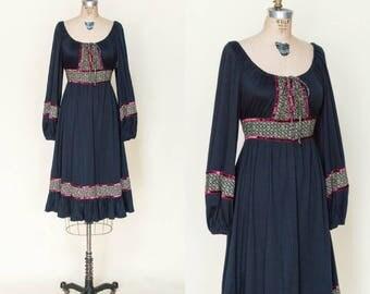 1970s Vintage Black Bohemian Peasant Dress Medium