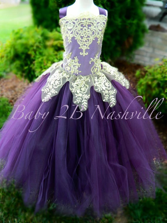 Plum Dress Gold Dress Flower Girl Dress Princess Dress Tulle Dress Lace Dress Wedding Dress Birthday Dress Tutu Dress Girls Dress