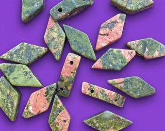 8 Unakite Beads, Diamond Shape, 2 Hole, about 9mm x 20mm with a 1.25mm hole