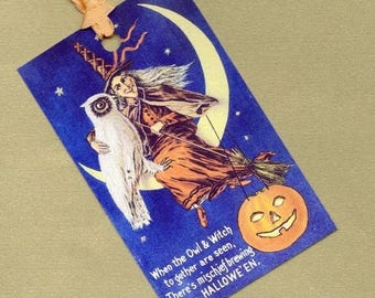 On Sale An Owl and a Witch for Halloween Gift Tag Set, HangTag Set, Bookmarks PSS 0703