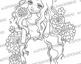 Digital Stamp Flower Wave Girl, Digi Download, Summer Spring, Fashion Floral, Coloring Page, Retro Style Clip Art Scrapbooking Supplies