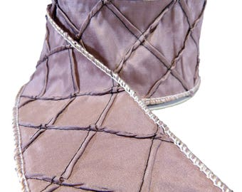 """Lavender Quilted Diamond Lattice Faux Silk  Wired Ribbon  2.5"""" Wide"""