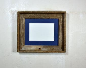 "5"" x 7"" dark blue mat in 8x10 frame from rustic reclaimed wood complete with glass,mat,backing and hardware free shipping"