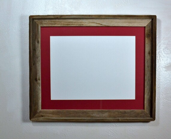 Picture Frame Reclaimed Wood 12x16 Red Mat 16x20 Without