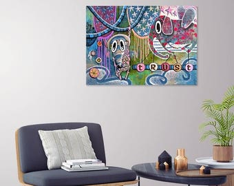 Trust (Original Painting) Flying Elephant and Cute Mouse - Healing Art for Children - 70x50cm