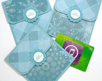 Christmas Gift Card Holder Set  - Merry Christmas Cards - Blue Snowflake Cards -Hand Stamped Holiday Money Cards