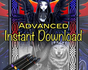 Set 12 - Advanced Grayscale - Printable Coloring Pages - Myka Jelina Art - Fairy Coloring - Fantasy Coloring Pages - Download - Gothic