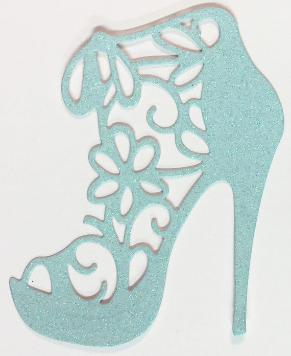 High Heel Shoe Die Cut Baby Blue Glitter Card Stock - Glamorous Feminine Embellishment Scrapbook Card Party Invitation Art Craft Collage