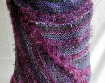 One of A Kind Handknit Fashion Shawl In Shades of Purple Using Designer and Handspun Yarns