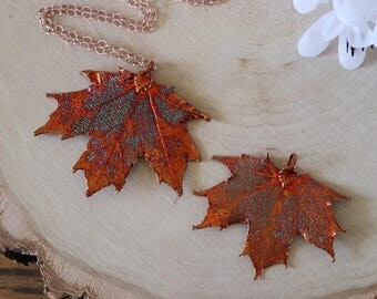Copper Sugar Maple Leaf Necklace, Real Leaf Necklace, Maple Leaf, Rose Gold Leaf Necklace, Canadian Maple, Long Leaf, Leaf Pendant LC72