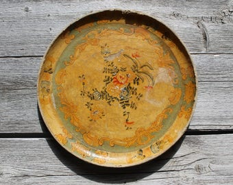 Vintage Paper Mache Tray, French Provencal, Serving, Pressed paper tray, French Home Decor, Wall Hanging, Tuscan