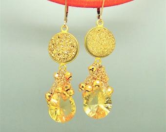 Golden Citrine Briolette Druzy Pyrite Gemstone Earrings in Vermeil Sterling Silver