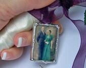 Memorial Foto Charme Hochzeit, Brautgeschenk für die Braut Strauß, Erinnerung, Andenken, Dusche vorhanden, zweiseitig