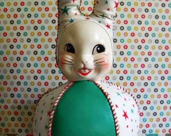 Vintage Roly Poly Vinyl Bunny Rabbit with Plastic Celluloid Face Easter and Christmas Bunny