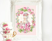 Marie Antoinette, Let them eat cake, French art print, Rose wreath, Bakery print, vintage style, A4 giclee