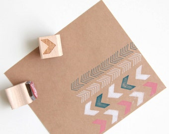 "Chevron and Arrows Abstract Rubber Stamps (Wood Mounted) Original Geometric Design Set of 2, Mini Duos 1/2"" size (M6A-6B)"