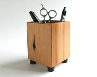 Pencil Cup - Pen Holder - Modern Office Decor - Recycled Wood