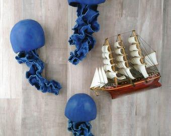 Cobalt Blue Jellyfish ceramic wall sculpture. Set of 3 art installation. Large wall art. Matte blue bathroom. Sea mermaid wall decor.