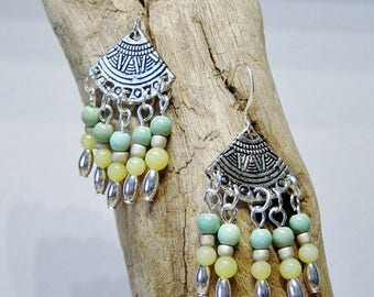 Silver Fan Chandelier Earrings, Aqua Magnesite Bead Earrings, Boho, Green Jade Bead Earrings, Tribal, Hippie, Southwestern