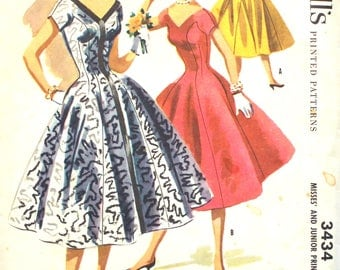 1955 Gored Party Dress Bust 30 McCalls 3434 Vintage Sewing Pattern
