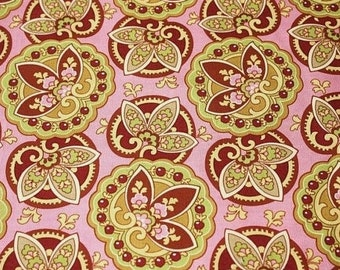 OOP Amy Butler - Star Paisley in Coral by the Yard - Pink Designer Fabric - Lotus Collection - Designer Fabric