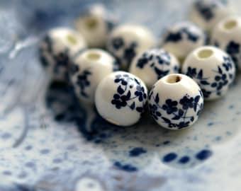 NEW! China Girl - Porcelain, Ceramic Beads, Opaque White, Denim Blue, Blossom Flower Rounds 10mm - Pc 6