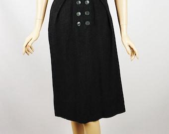Vintage 1950s Dress Dark Gray Lightweight Wool Secretary by Peggi B36 W26