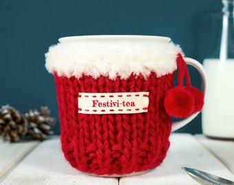 Christmas Mug Cosy, Personalised Mug Cosy, Mug Gift, Tea Lover, Tea Gift, Christmas Mug, Hot Chocolate, Girlfriend Gift, Pom Pom Mug Warmer