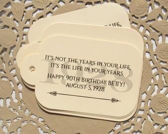 90th Birthday Favor - Adult Birthday Favor - Favor Tags - Gift Tags - 90th Favor Tags - Birthday Tags - Adult Birthday - Birthday Favors