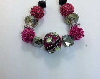 Set of 15 Magenta, Black and Silver Assorted Variety Beads