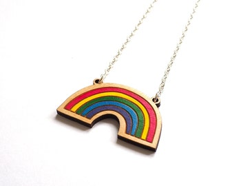 Rainbow Necklace, Hand painted, Laser Cut, Birch Wood Necklace by Rock Cakes, Brighton uk