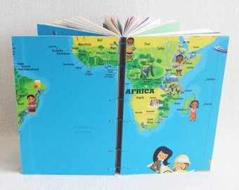 Africa Travel Journal Recycled Our World Game Board Book Upcycled Board Game by PrairiePeasant