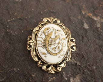Brooch, Gold Tone Brooch, Scorpion Brooch, Fashion Brooch