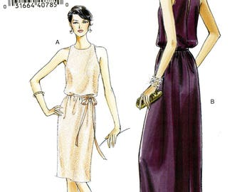 Vogue V8241 Easy Evening Formal Sleeveless Dress Pullover Size 14 16 18 20 Uncut Sewing Pattern 2007