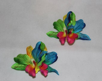 Pair Double Colorful TROPICAL HAWAIIAN ORCHID Hair Clips