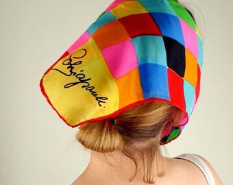 60s Schiaparelli Rainbow Bright Squares Silk Scarf