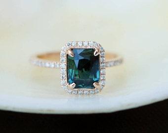 Peacock sapphire engagement ring. 1.96ct emerald cut blue green sapphire ring diamond ring 14k Rose gold ring by Eidelprecious.
