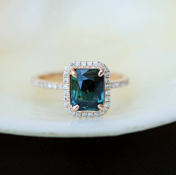 Peacock sapphire engagement ring. 1.96ct emerald cut blue green sapphire ring diamond ring 14k Rose gold ring by Eidelprecious.