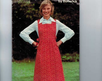 1980s Vintage Sewing Pattern Butterick See & Sew 5803 Misses Jumper Dress Modest Size 8 Bust 31 32 80s