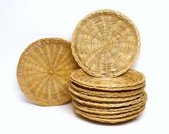 12 Piece Group of Wicker Basket Paper Plate Holders