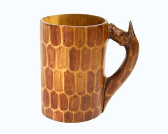 Decorative Carved Wooden Mug with Giraffe Handle