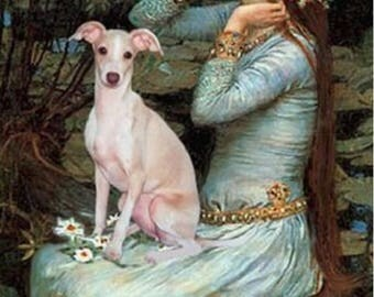"ITALIAN GREYHOUND -Vintage ART.  Actual Picture is approx 8"" x 11"" on 16 inch Fabric Square Panel for Sewing."