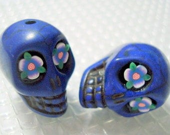 Leafy Flower Eyes in Cobalt Blue Howlite Skull Beads