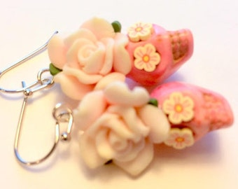 Pale Pink Cherry Blossom Day of the Dead Rose and Sugar Skull Earrings