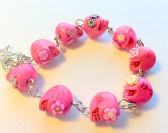 Bracelet Day of the Dead Pink Sugar Skull Adjustable Chain Bracelet Pink Flower Eyes