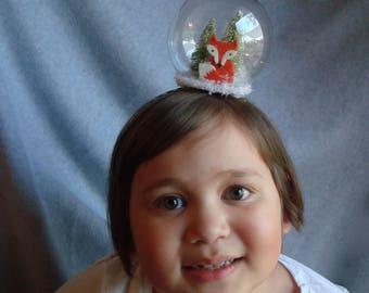 Snowglobe Headband Fox Headband Hair Accessory Snow Holiday Hair Band Fascinator Christmas Tree Snow Winter Headband Girls Gift Womens Xmas