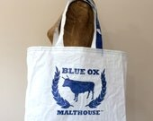 Recycled Blue Ox Malting Grain Bag Tote, Handmade in Maine